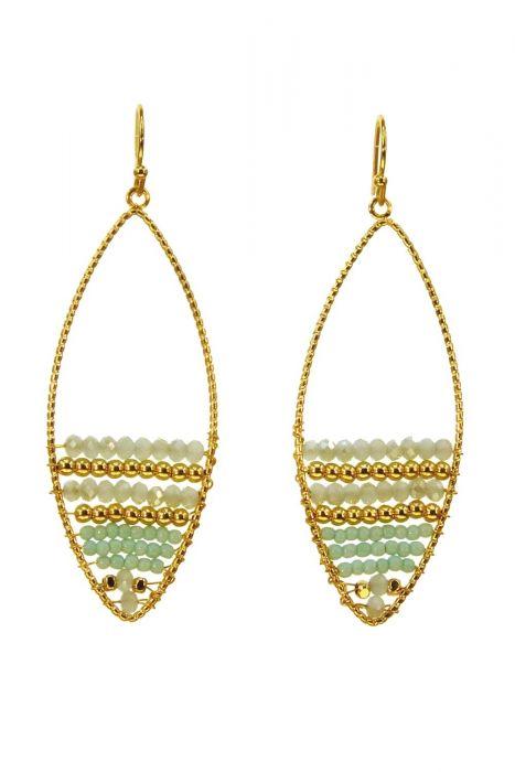 Gold & Green Crystal Beaded Oval Earrings | Surgical Steel Earrings