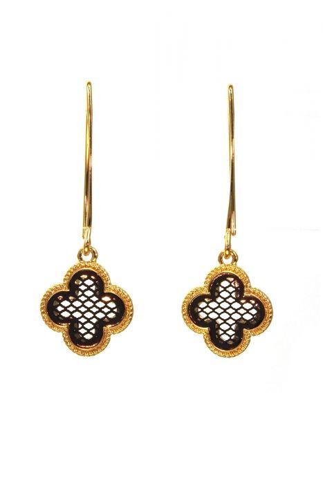 Gold & Black Quatrefoil Drop Earrings | Gold Plated Stainless Steel Earrings