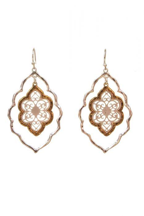Gold & Rhodium Plated Stainless Steel Earrings | Filigree Window Dangle Earrings