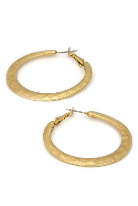 Gold Plated Surgical Steel Earrings | Hammered Gold Hoop Earrings