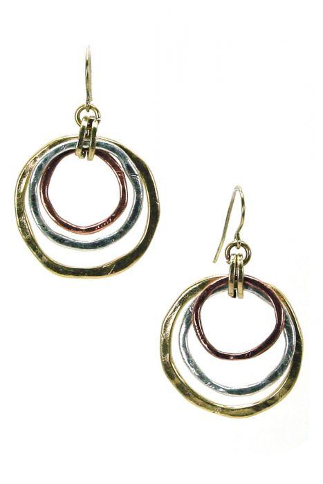 Surgical Steel Earrings | Multi Metal Triple Drop Hoops