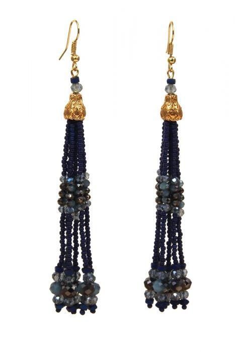 Navy Beaded Tassel Earrings | Gold Plated Surgical Steel Earrings