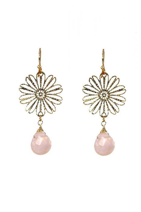 Surgical Steel Earrings | Rose Quartz Daisy Drop Earrings