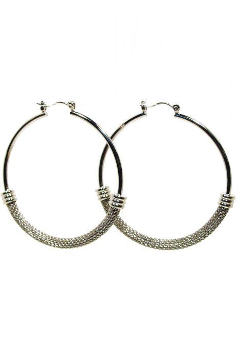 Surgical Steel Earrings | Silver Snake Chain Hoop Earrings  |
