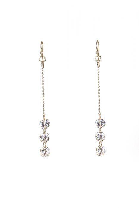 Surgical Steel Earrings | Triple Zircon Drop Earrings |