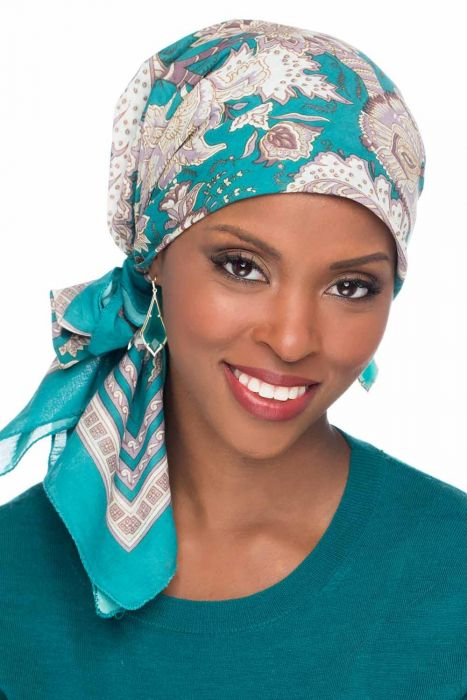 Florence Print | 100% Cotton Woodblock Hand Stamped Head Scarves