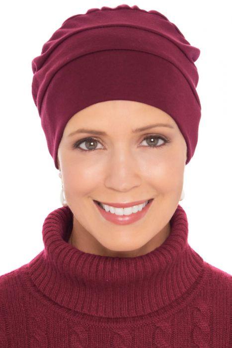Three Seam Turbans in Burgundy Wine   100% Cotton Hat