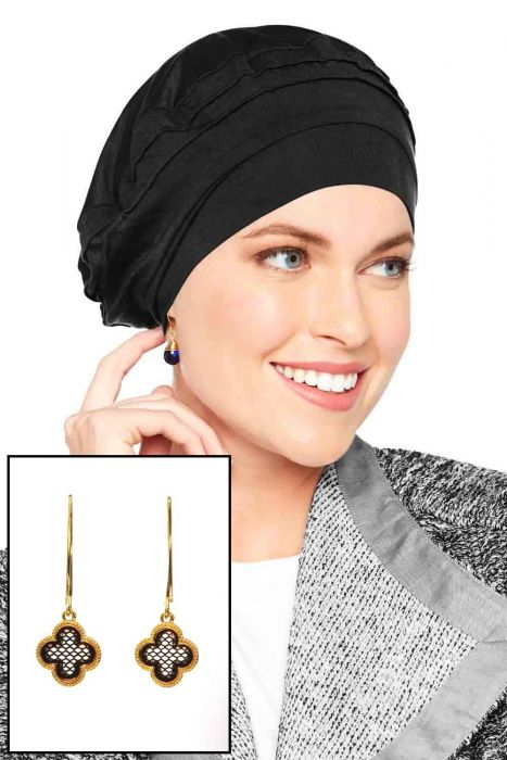 Bamboo Triumph Beret with Matching Stainless Steel Earrings | Value Gift Set |