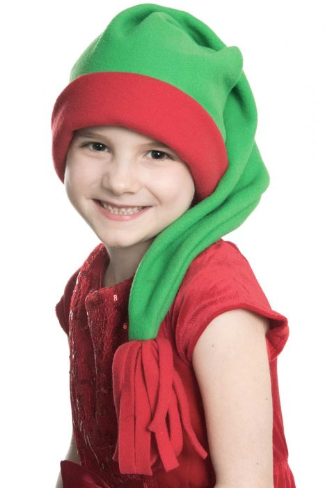 Elf Santa Sleeping Cap - Sleep Hat Stocking Cap for Kids - Red and Green Two Tone | Green with Red