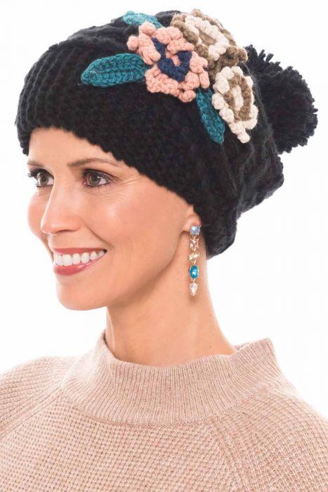 Waffle Knit Flower Beanie Cap | Fall & Winter Beanies for Women