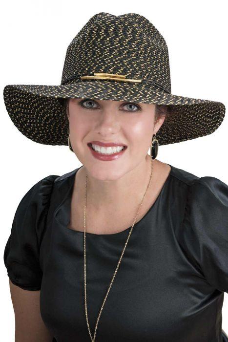 Wide Brim Shimmer Fedora Hat