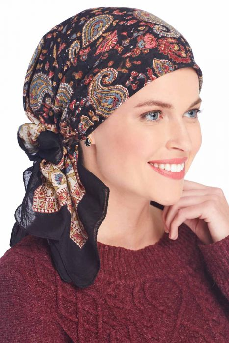 Valencia Paisley   100% Cotton Woodblock Hand Stamped Head Scarves