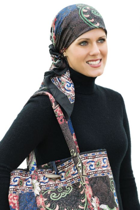 Cotton Woodblock Print Head Scarf and Tote Bag Set with Scrunchie