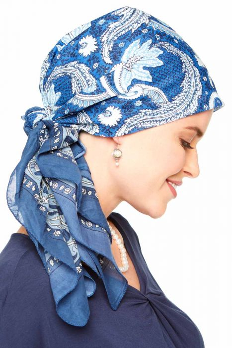 """Oversized 100% Cotton Woodblock Hand Stamped Head Scarves 