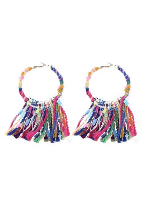 Boho Yarn Hoop Earrings | Nickel Free & Hypoallergenic Earrings |