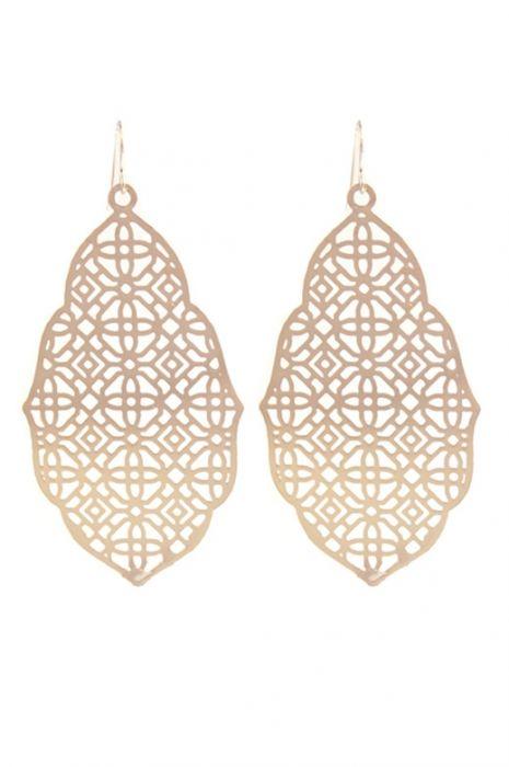 Rose Gold Filigree Statement Earrings | Nickel Free & Hypoallergenic Earrings |