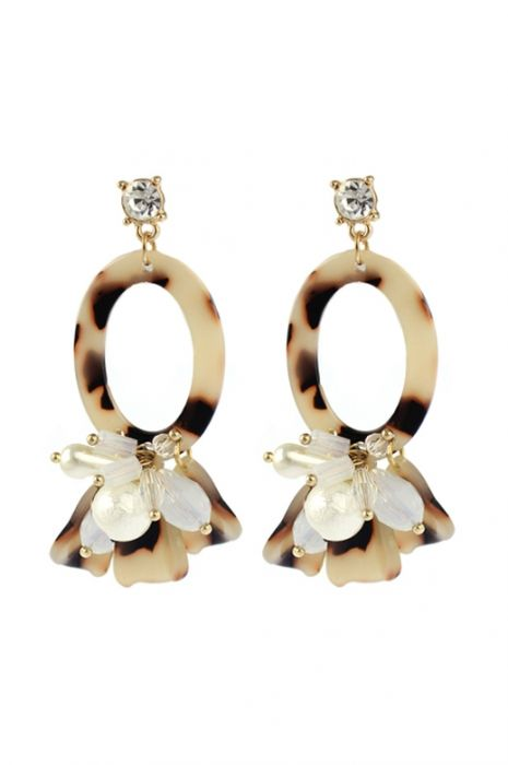 Hypoallergenic Statement Earrings | Tortoise Shell Ovals with Drop Beads