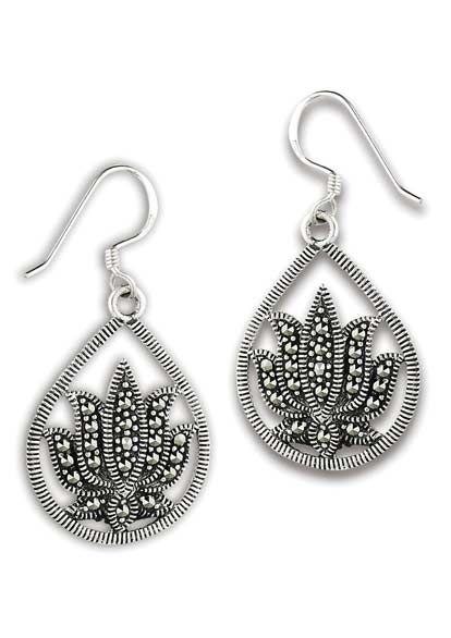 Sterling Silver Earrings | Lotus Marcasite Dangle Earring |