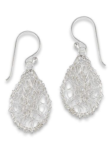 Sterling Silver Hand Wire Wrapped Earrings | Small Teardrop Dangles