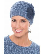 Flapper Turban | Vintage Flapper Hat in Soft Viscose from Bamboo by Cardani | Denim Paisley w/ Navy