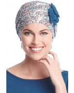 Flapper Turban | Vintage Flapper Hat in Soft Viscose from Bamboo by Cardani | Multi Paisley w/ Pacific Blue
