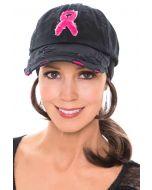 Vintage Pink Ribbon Distressed Baseball Cap | Baseball Caps for Women