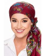 100% Pure Silk Head Scarf | Silk Scarf for Hair | Asian Floral - Cabernet