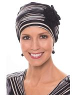Flapper Turban | Vintage Flapper Hat in Soft Viscose from Bamboo by Cardani | Multi Stripe w/ Black