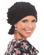 Textured and Ruffled Chemo Scarf Beanie   Chemo Slip on Headcovering