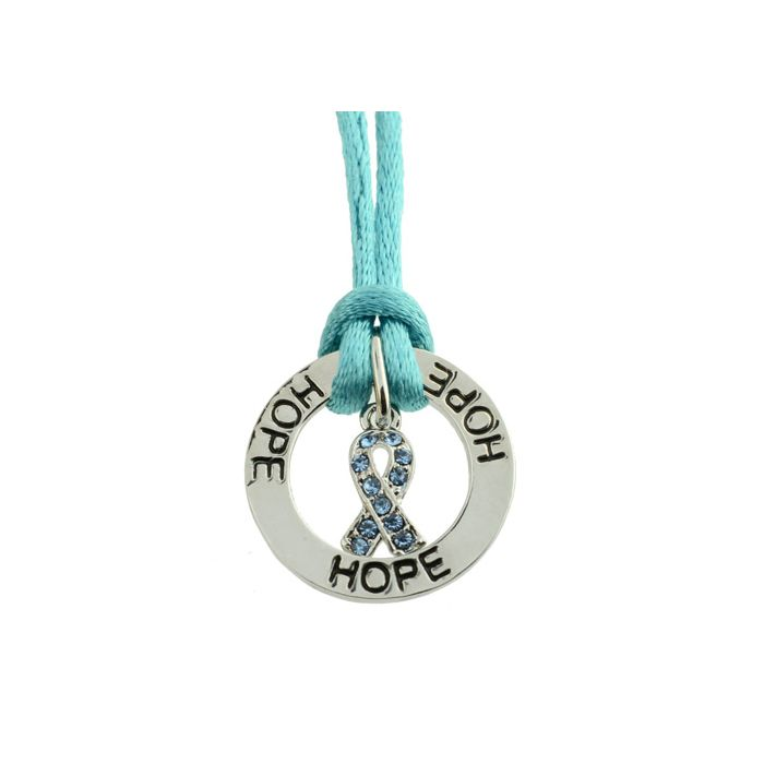 Ovarian Cancer Awareness Jewelry Teal Ribbon Necklace