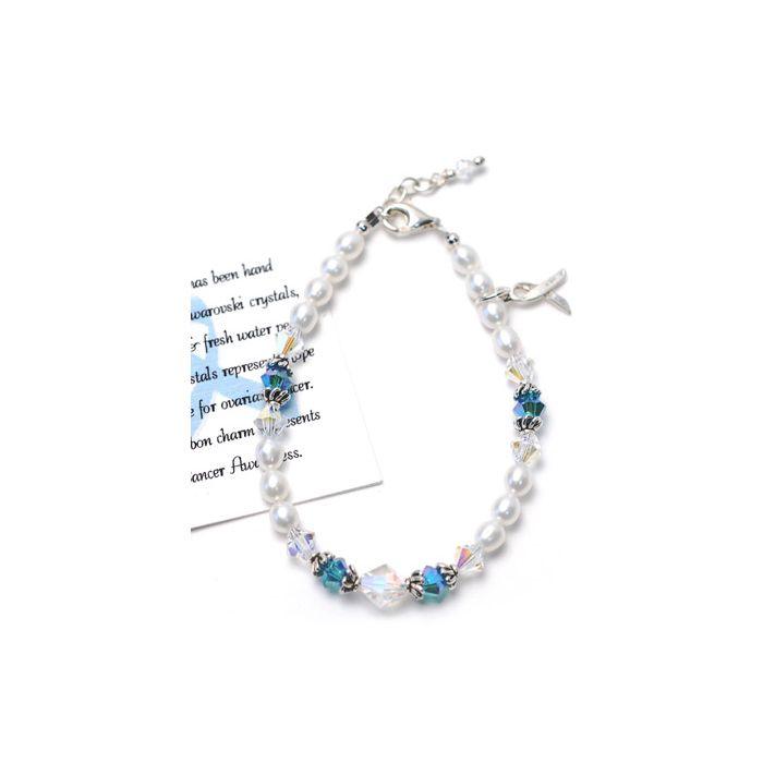Sterling Silver Ovarian Cancer Awareness Bracelet