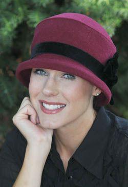 Velvet Trim Ruby Hat - Holiday Hat for Women