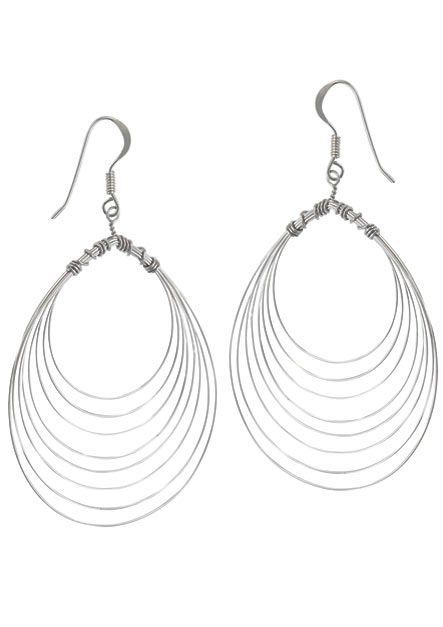 Sterling Silver Statement Earrings | Large Wire Wrapped Concentric Ovals |