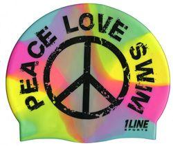 Tie Dye Peace, Love, Swim Silicone Swim Cap
