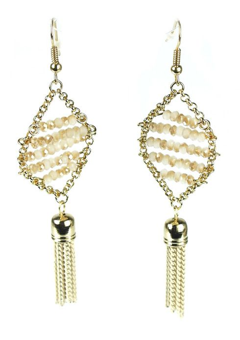 Tassel Drop Gold Plated Earrings with Swarovski Crystal Beads