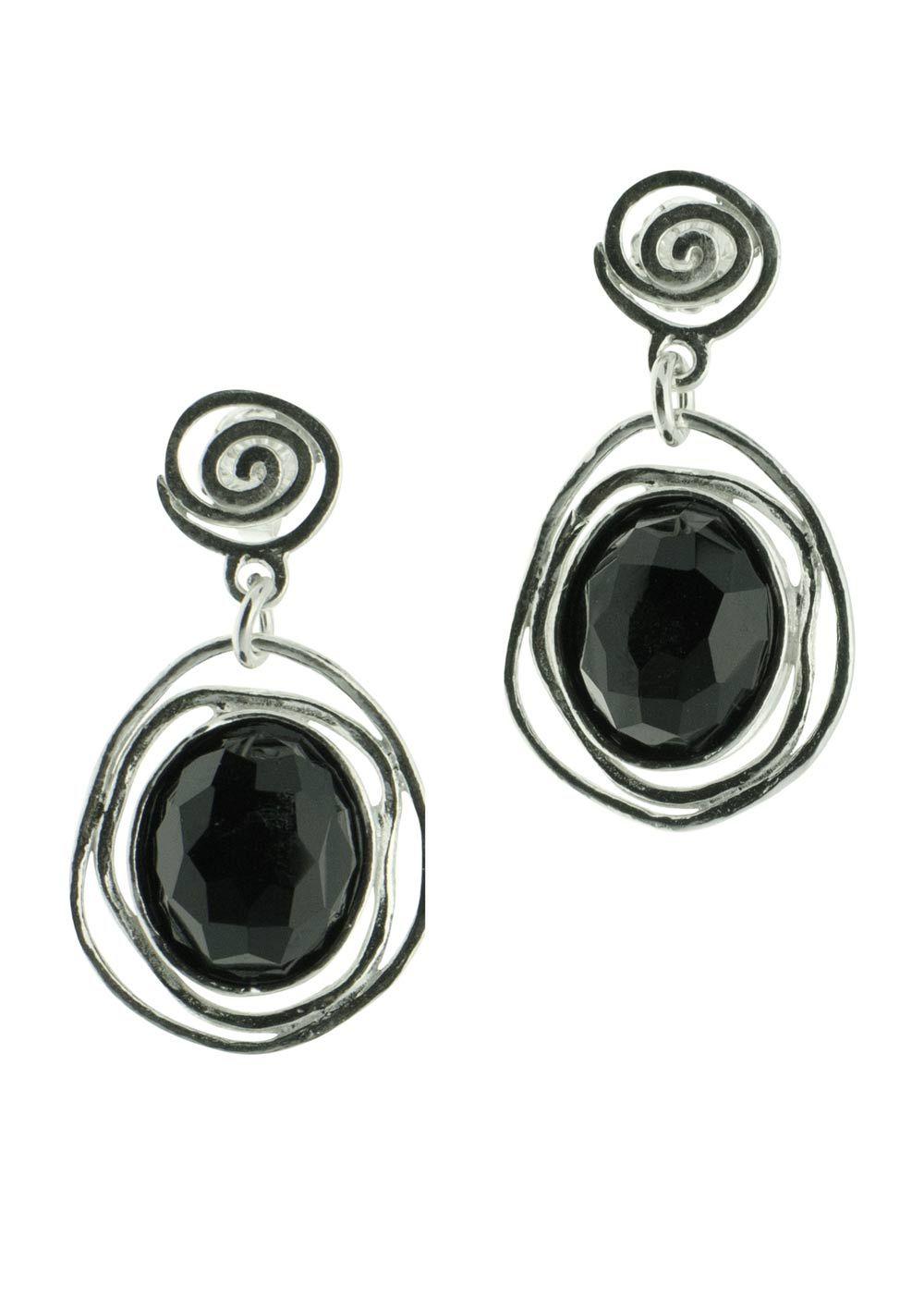 Onyx Post Dangly Silver Earrings  Organic Circle Black Onyx Earrings  Onyx Post Dangly  Minimalist Onyx  925 Sterling Silver