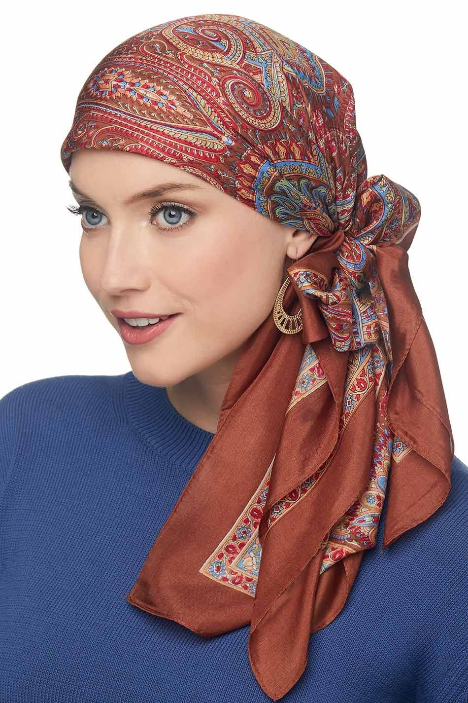 Female Silk Head Wrap Scarf Headdress Folding Turban Hat Pre-Tied Scarves BS