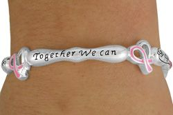 """Breast Cancer Ribbon Heart Bracelet """"Together We Can Make a Difference"""