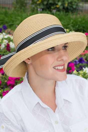 Amie Striped Ribbon Sun Hat