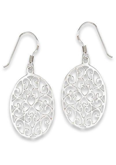 Sterling Silver Earrings | Oval Filigree Motif |