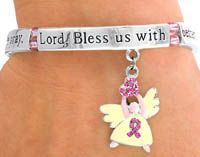 Breast Cancer Angel Pink Ribbon Dangle Bracelet |