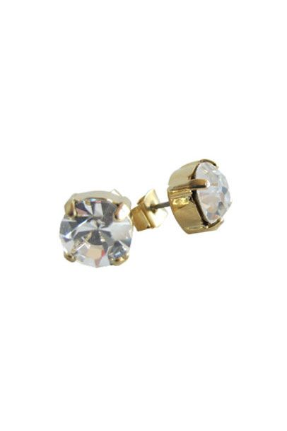 Clear Swarovski Crystal Radiant Stud Earrings | Nickel & Lead Free Gold Tone Earrings
