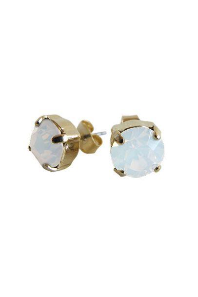 Opalline Swarovski Crystal Radiant Stud Earrings | Nickel & Lead Free Gold Tone Earrings |