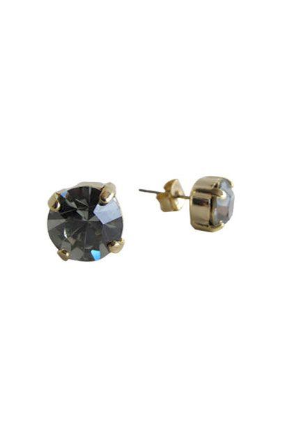 Smokey Swarovski Crystal Radiant Stud Earrings | Nickel & Lead Free Gold Tone Earrings |