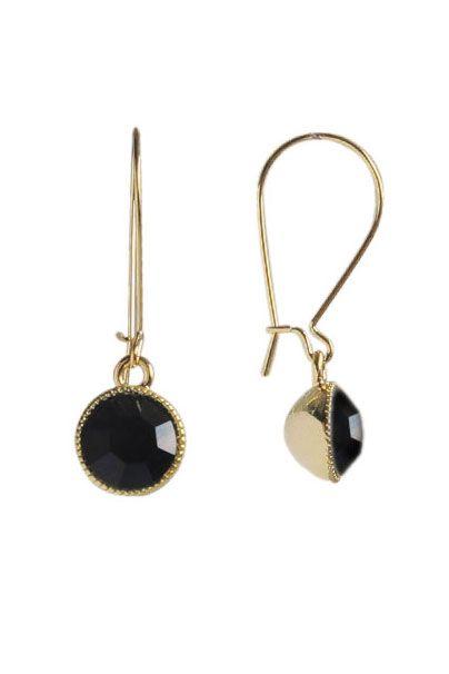 Black Swarovski Crystal Drop Earrings   Nickel & Lead Free Gold Tone Earrings  