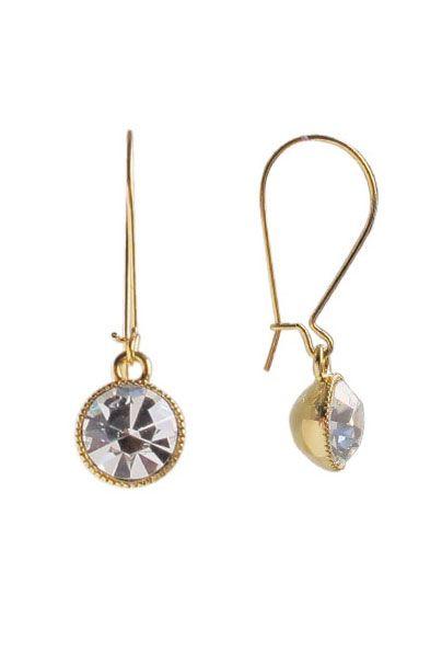 Clear Swarovski Crystal Drop Earrings | Nickel & Lead Free Gold Tone Earrings