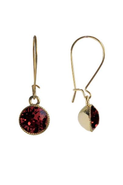 Deep Red Swarovski Crystal Drop Earrings | Nickel & Lead Free Gold Tone Earrings |