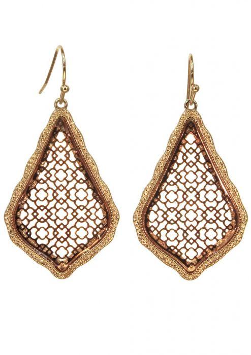 Gold Plated Stainless Steel Earrings | Copper & Gold Filigree Geometric Dangle Earrings |