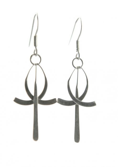Sterling Silver Cross and Cancer Awareness Ribbon Drop Earrings |