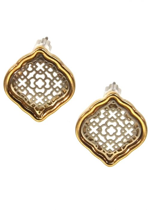 Stainless Steel Earrings | Gold & Rhodium Plated Abstract Damask Filigree Post Earrings |